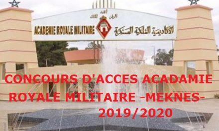 Académie royale militaire de Meknès – Concours 2019